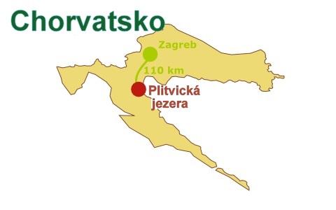 Mapa Chorvatska s Plitvicemi